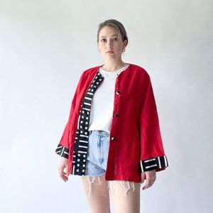 vintage red linen blazer with abstract print
